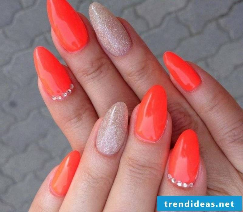 interesting nail design orange