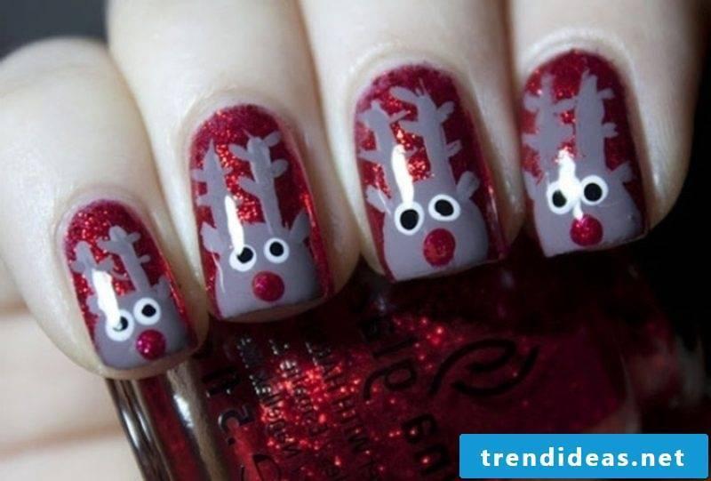 Nailart gallery funny reindeer