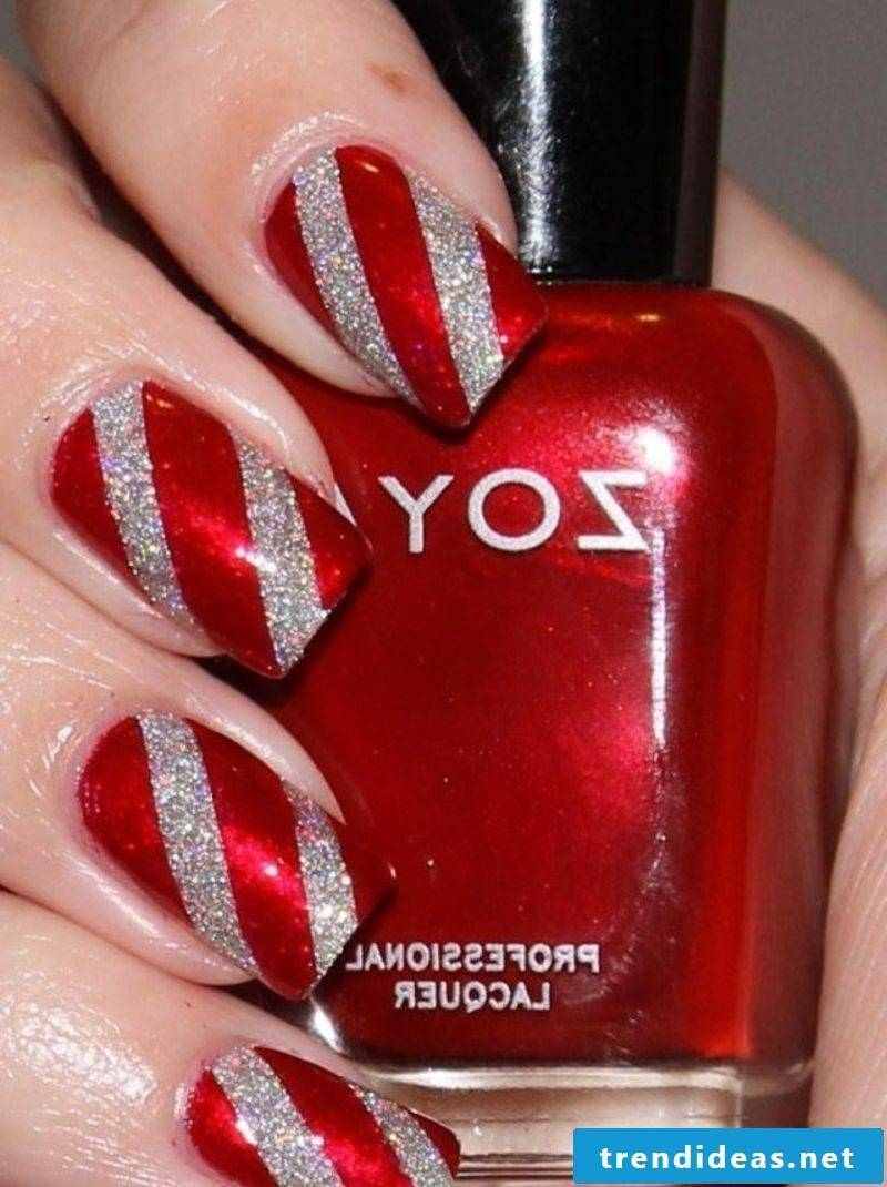 Nailart Gallery Christmas stripes glitter paint