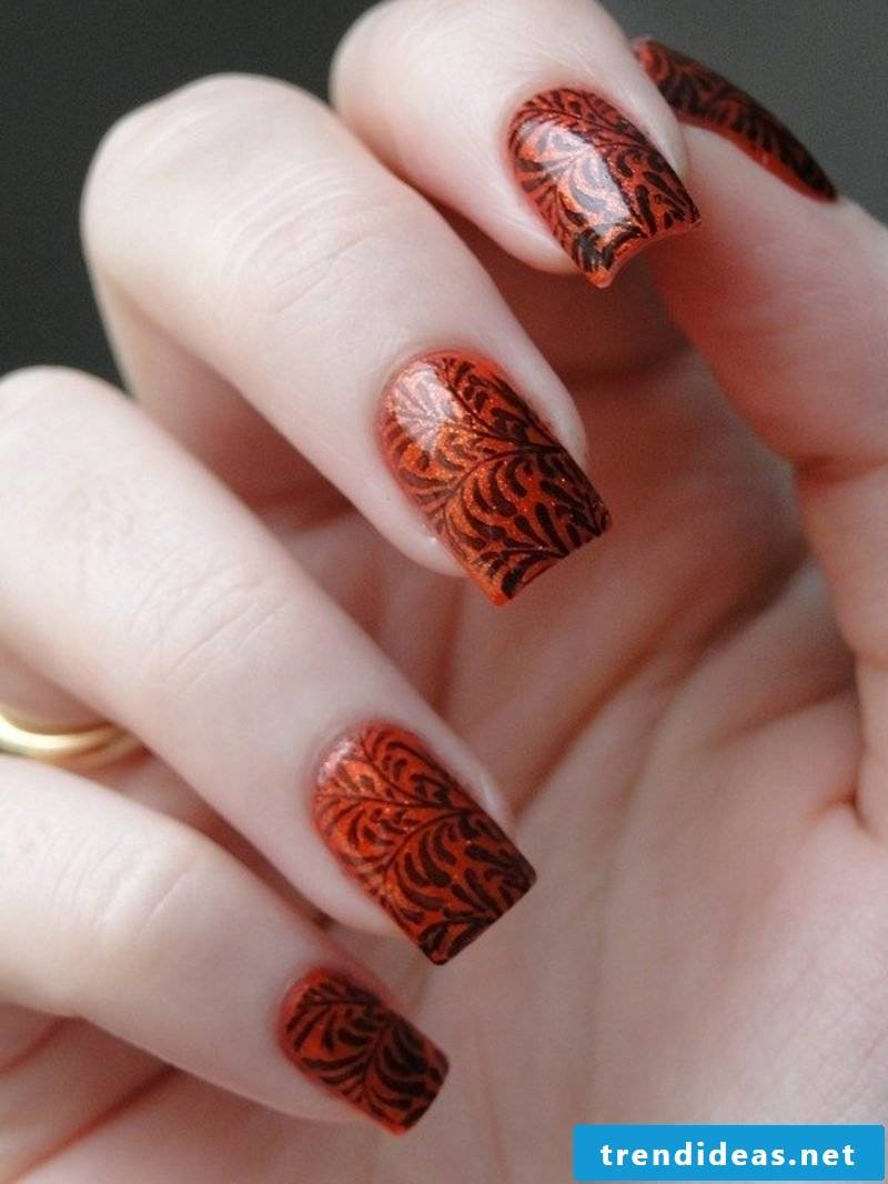 Nail art gallery nail polish Orange black ornaments