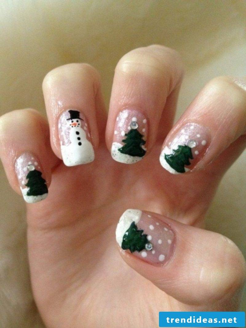 Winter Nails Fir Trees Snowman Nail Art Gallery