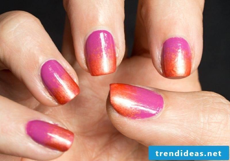 Fingernails Ombre pink and orange