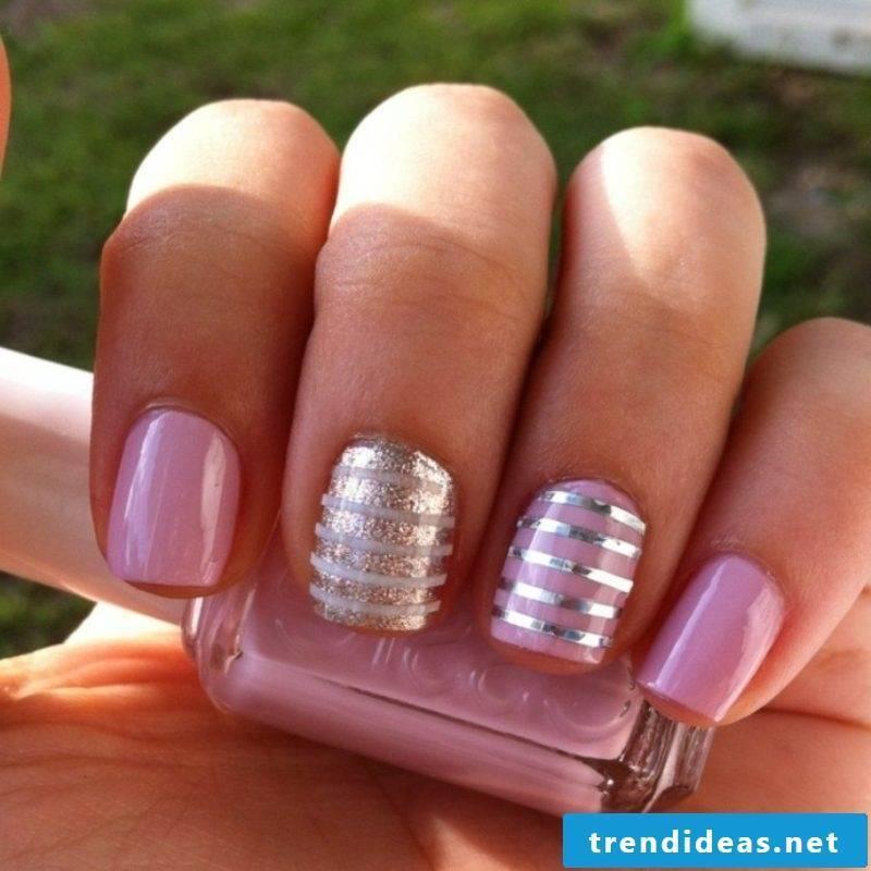 pink nail polish silver trim