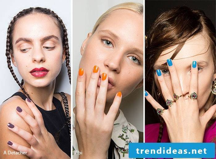 Nail motifs in bright colors