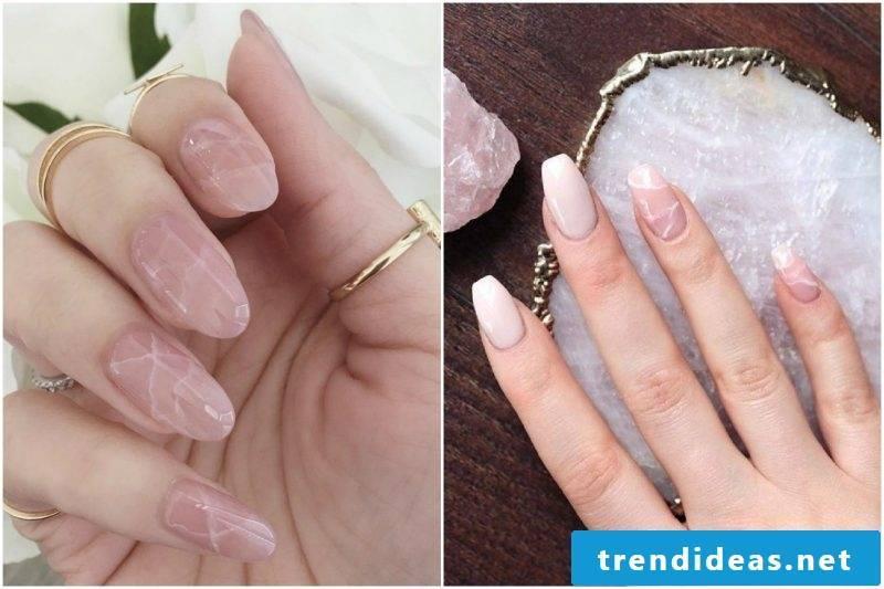 Rose quartz design fingernails