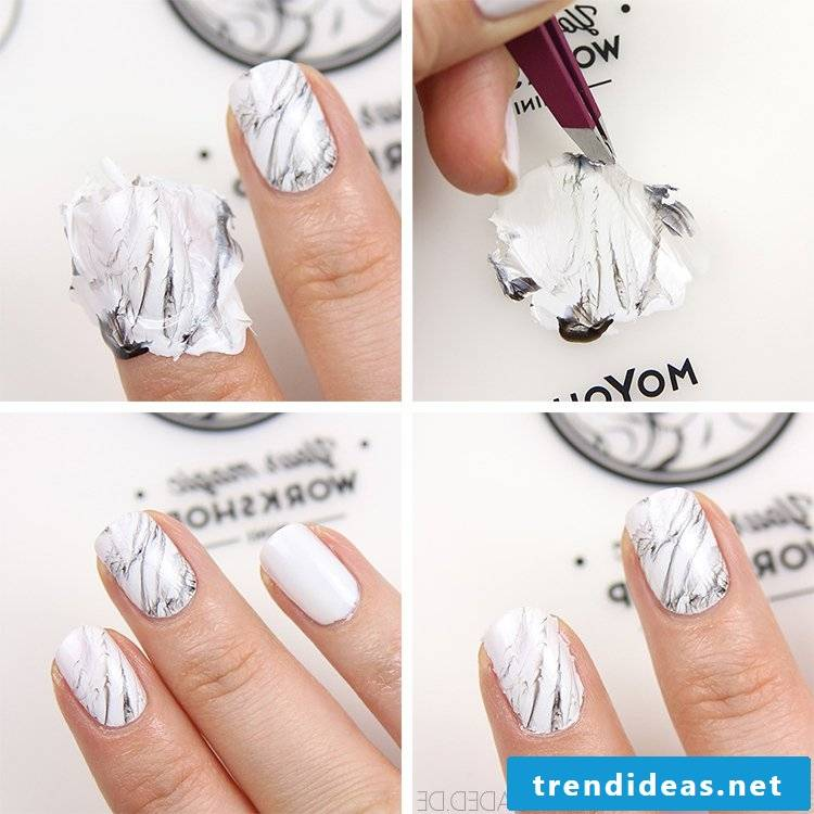 Make marble nail design yourself