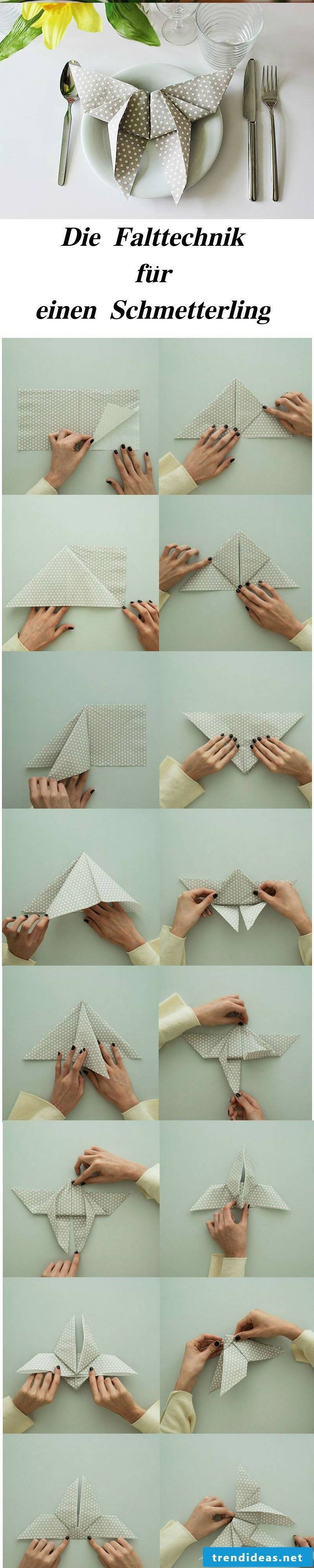 Step by step: to fold a butterfly