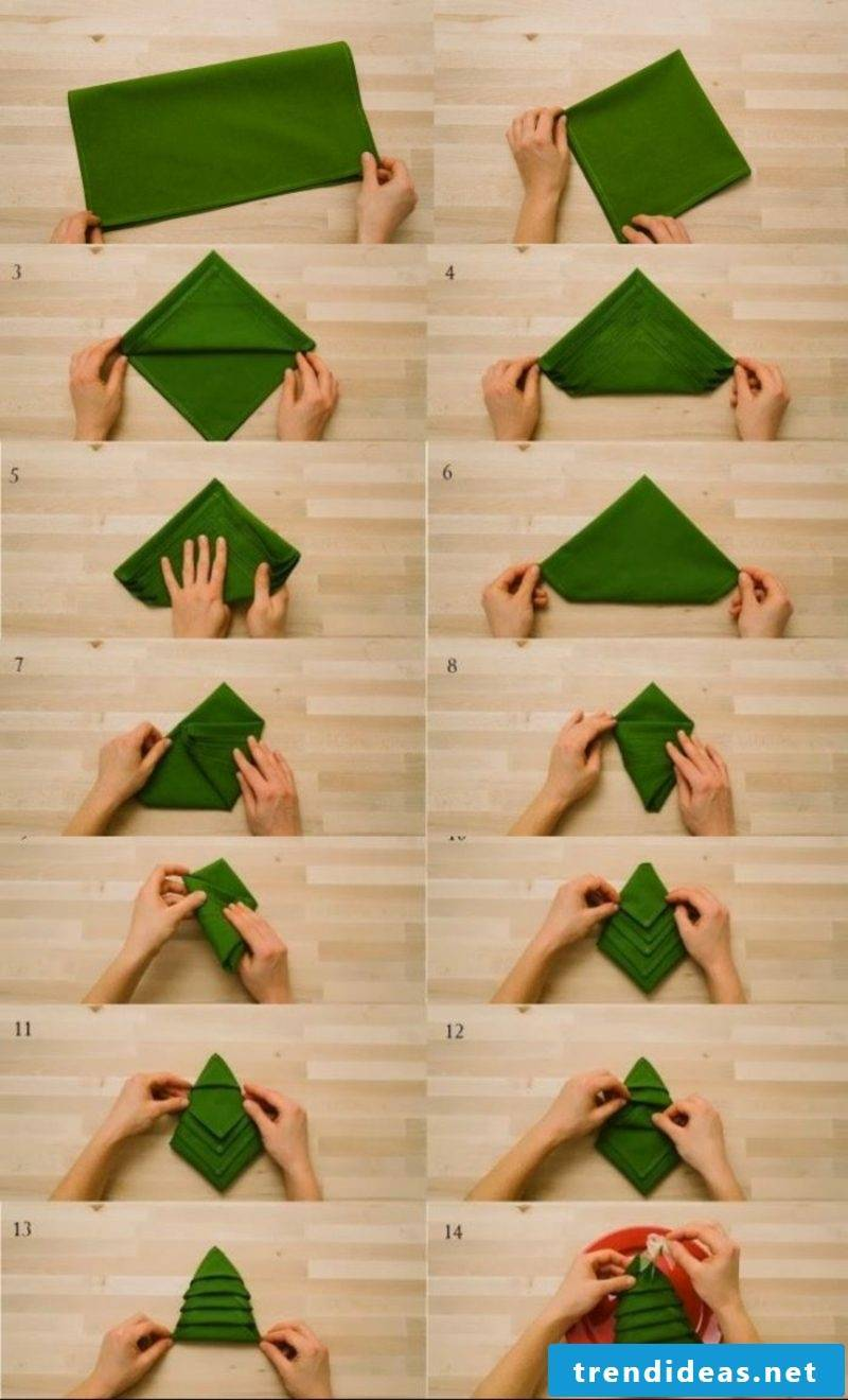 Napkins fold for Christmas Christmas tree instructions in pictures