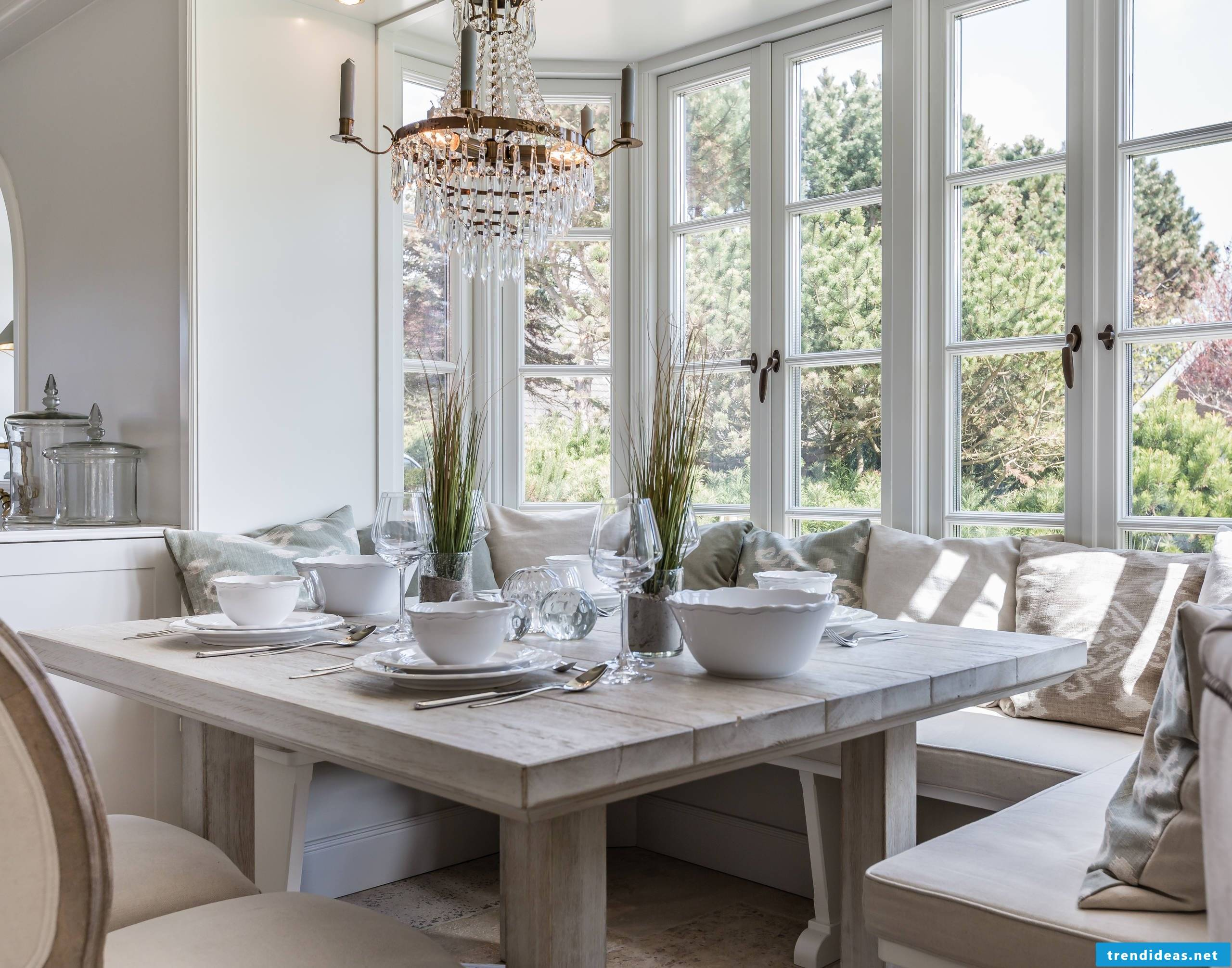 Solid wood furniture in shabby chic style