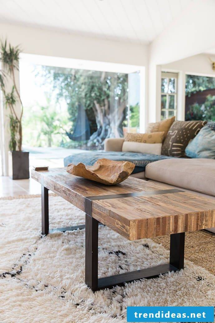 Solid wood furniture combined with metal create a wonderful ambience