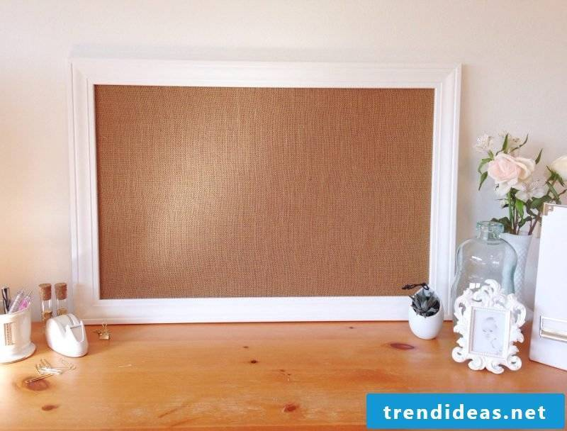 Memo board itself make fabric and wood in vintage style