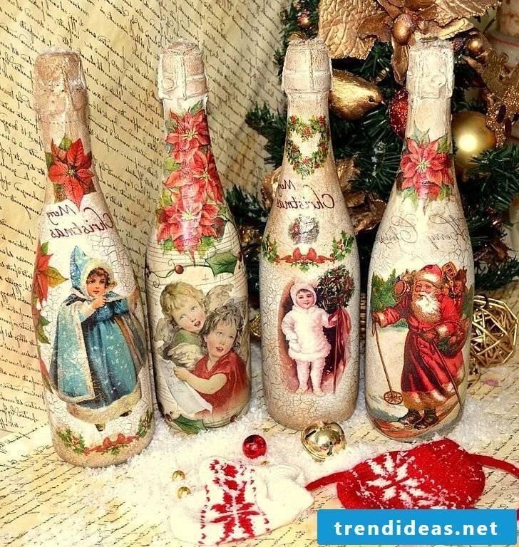 Napkin Technique Instructions - Make Christmas bottles