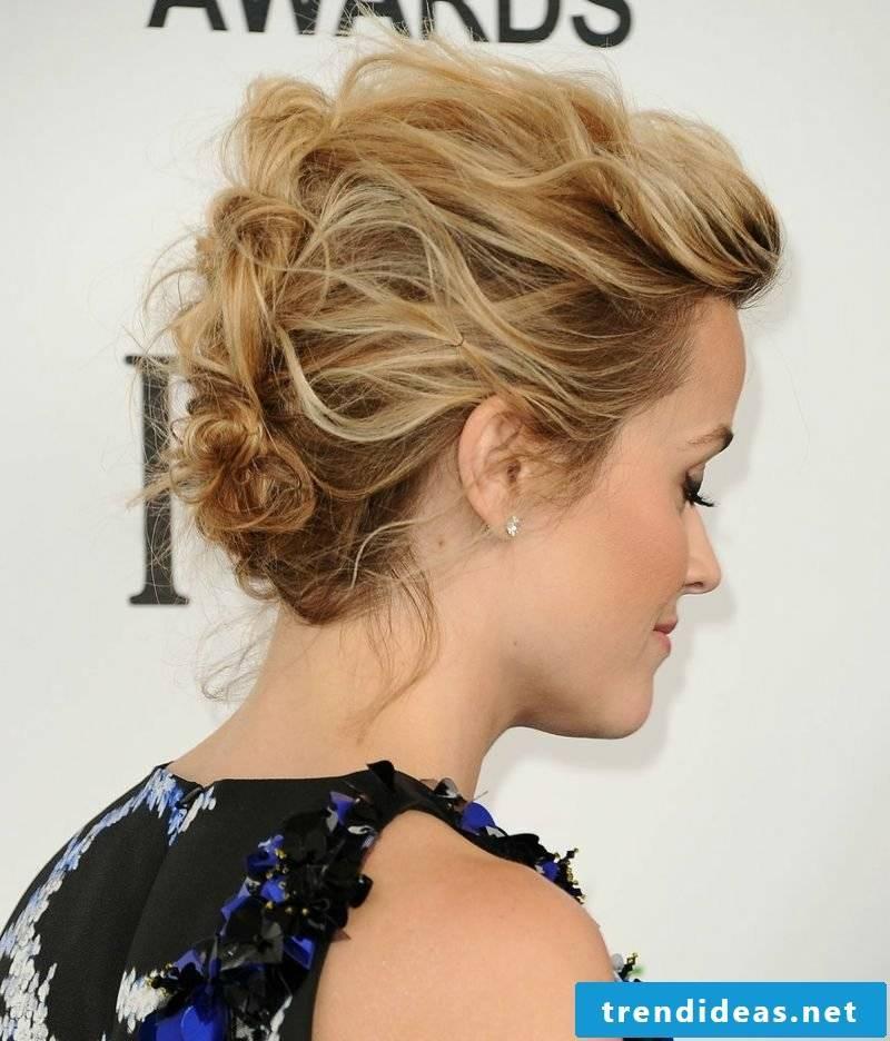 Updos short hair curly elegant look