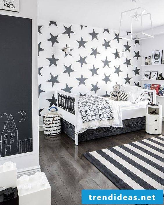 wall design nursery ideas black white bed wood