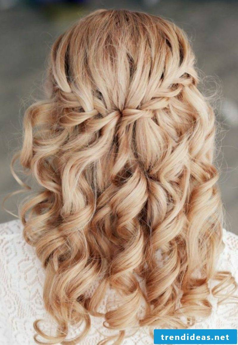 half-open hairstyles romantic waterfall braid