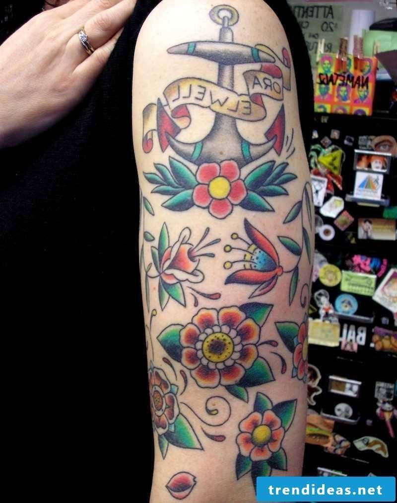 Old School Tattoo Flowers