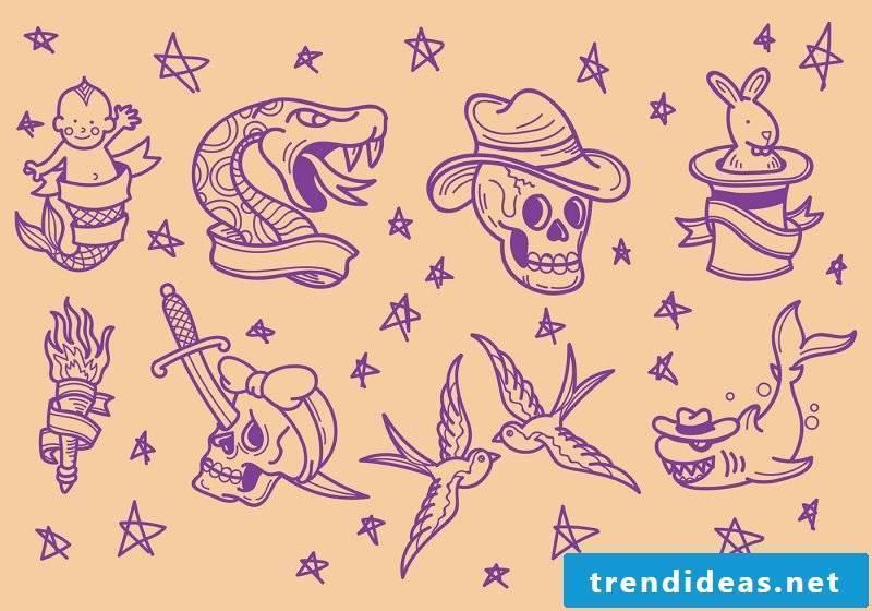 Old School Tattoo Templates
