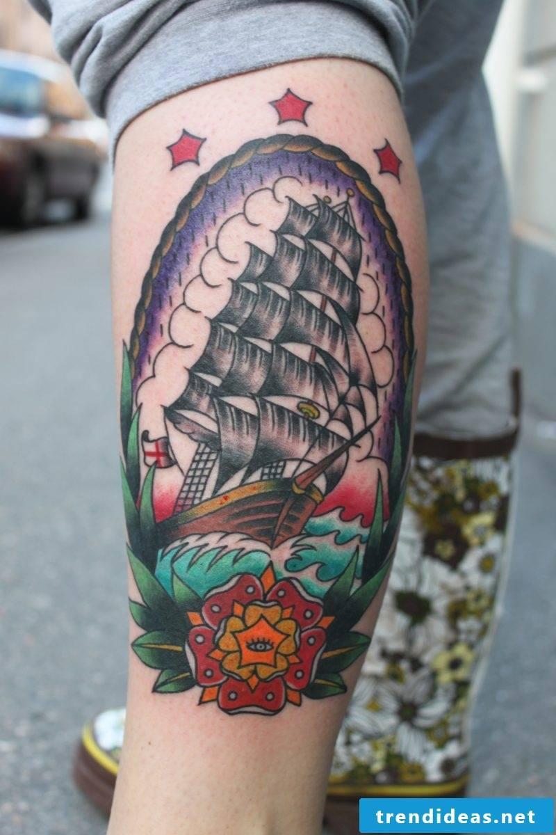 Old school tattoo colored ideas