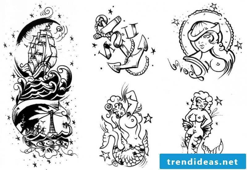 Old School Tattoo Marine Themes