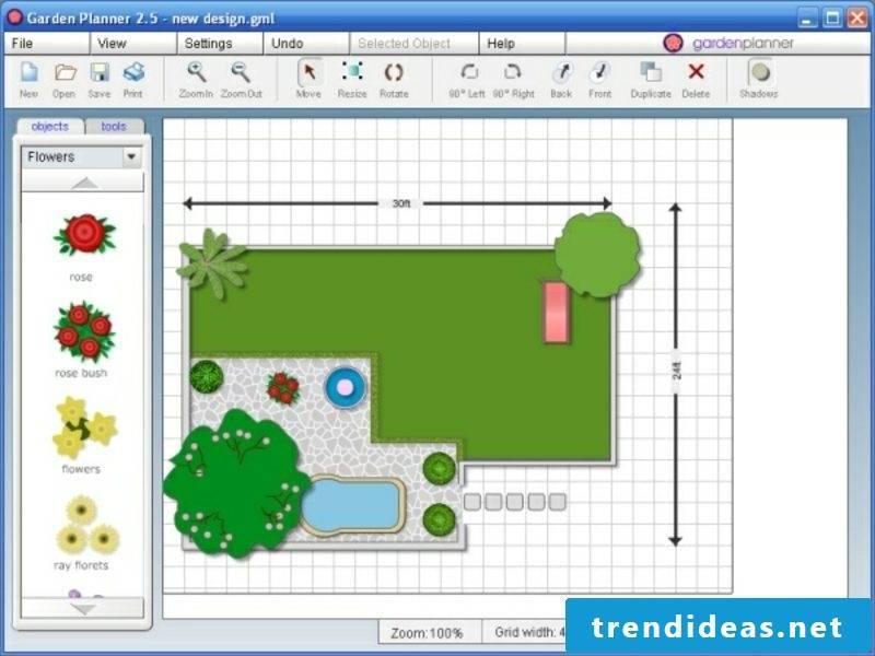 2D garden planner schematic representation of the outdoor area
