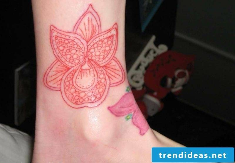orchids tattoo ankle