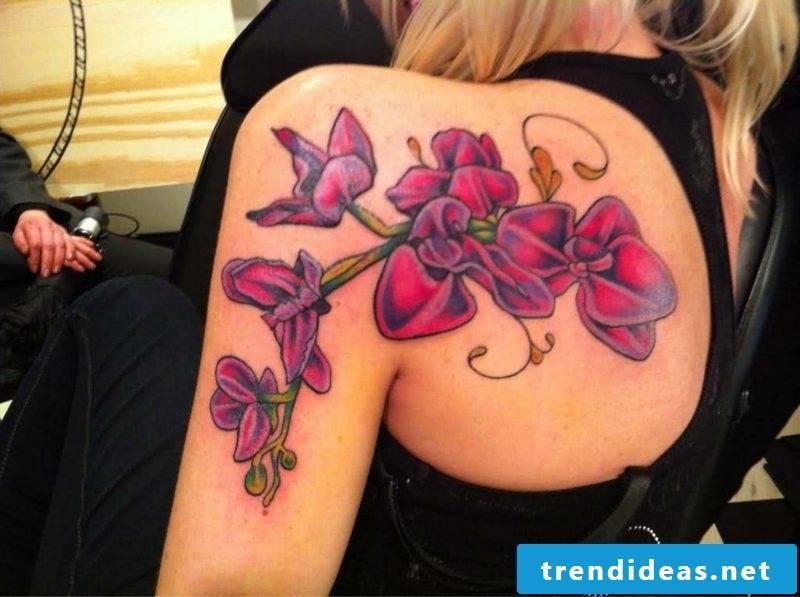 orchids tattoo back shoulder