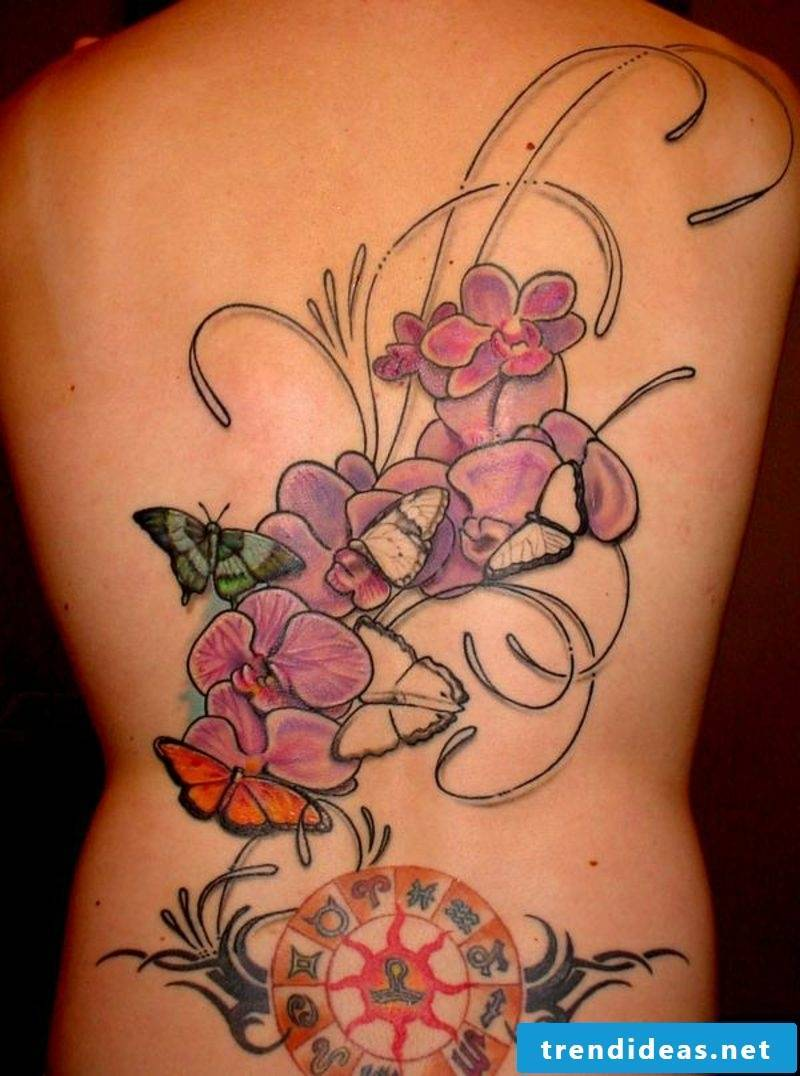 orchids tattoo zodiac circle on back