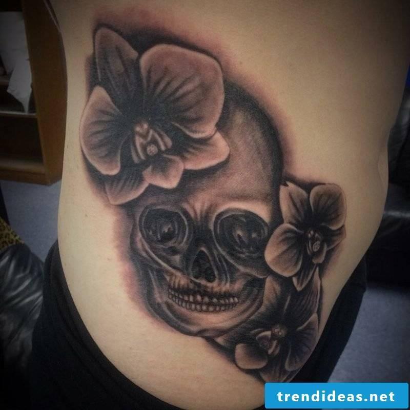 orchids tattoo gray ink skull
