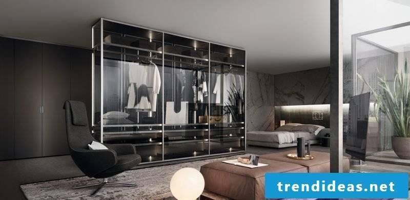 walk-in wardrobe bedroom glass doors clothes rack light chair modern furnishings