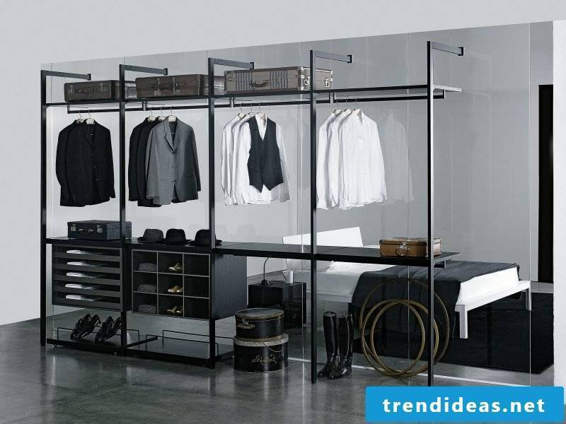 how should the perfect walk-in wardrobe look like bedroom white black shoes shelving systems