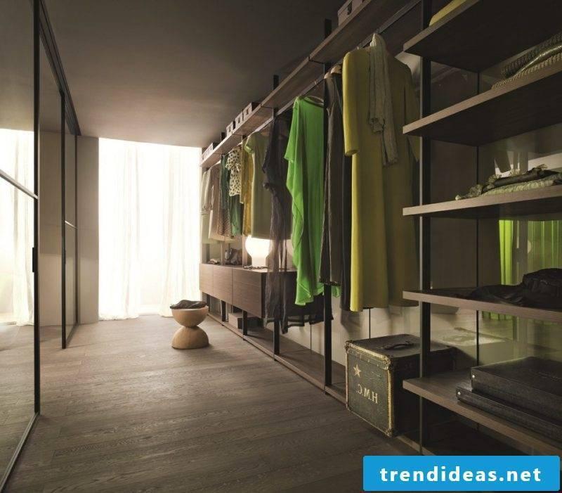 Perfect walk-in wardrobe bedroom green stool window clothes rack