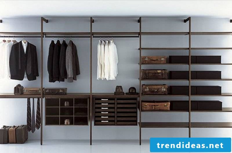 modern wardrobe shelving systems: clothes racks, suits for men
