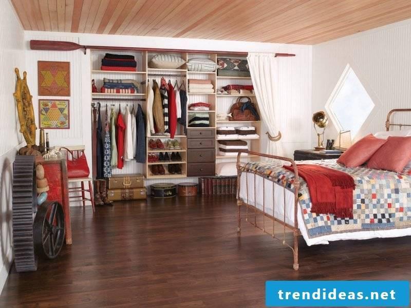 DIY walk-in wardrobe bedroom open shelving curtains