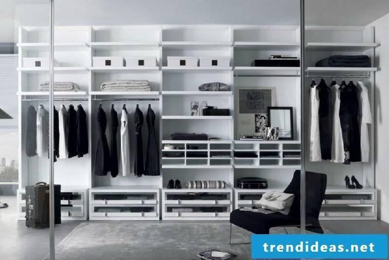 walk-in wardrobe gray metal style bedroom set up window light