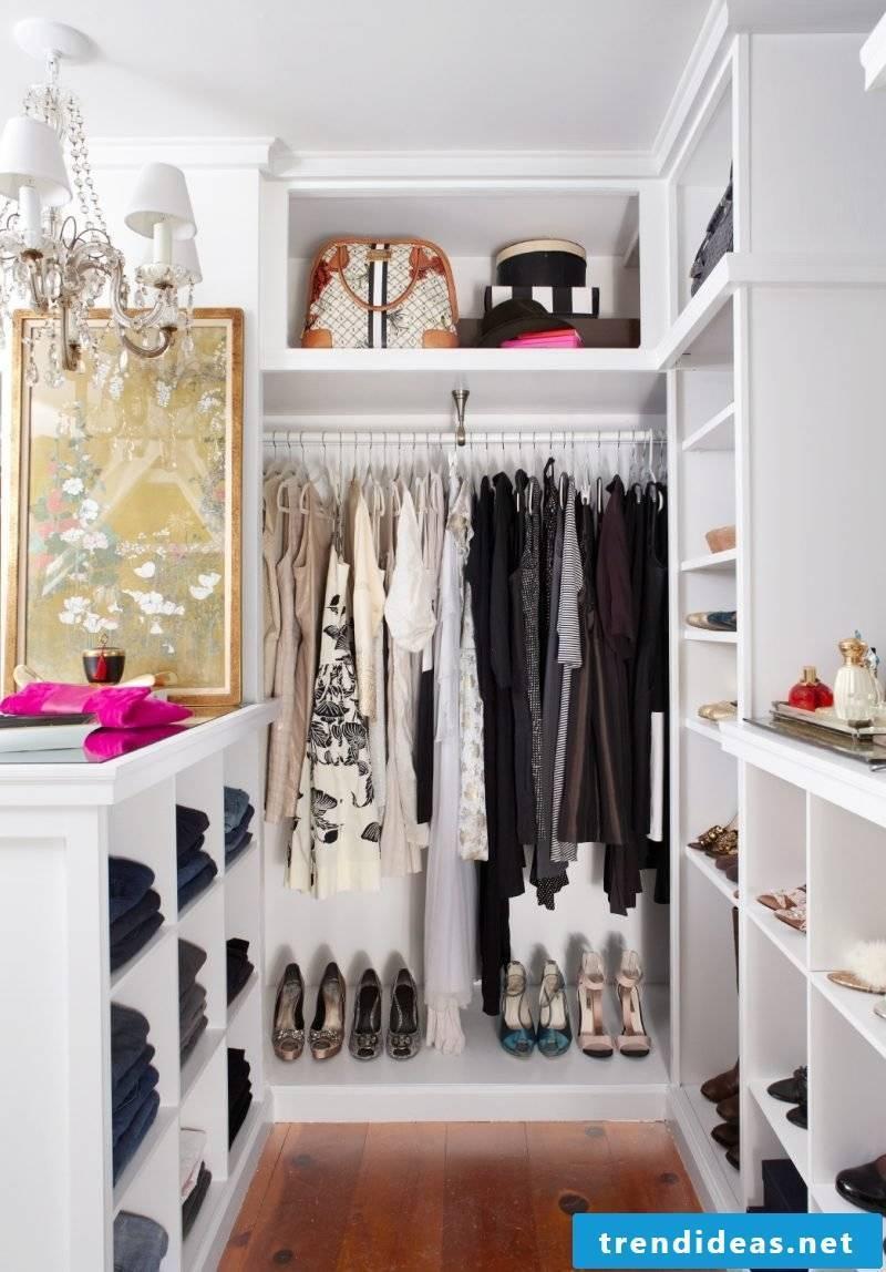 small walk-in wardrobe itself make light shoes white