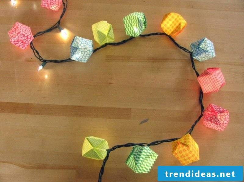 Origami Christmas boxes of colorful paper