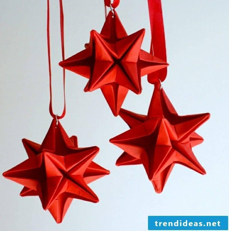 Origami Christmas splendid stars red paper