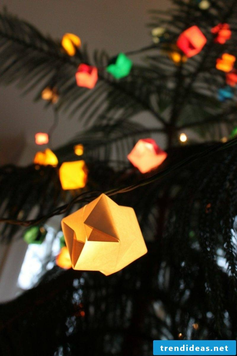 Decorate origami Christmas fairy lights