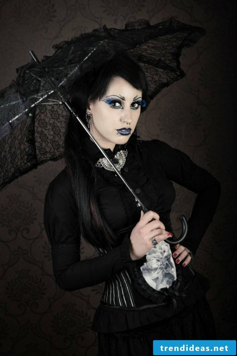 Halloween costumes women witch black dress umbrella