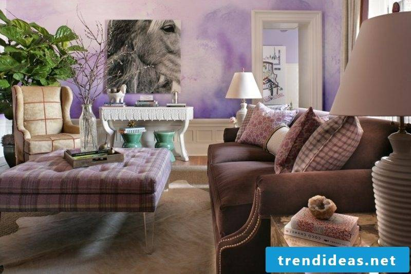 Wall painting in delicate pink and purple shades