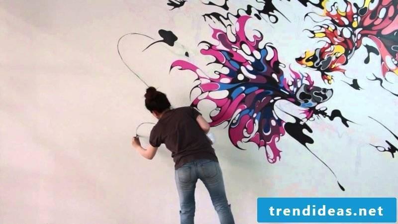 Wall painting stylized fish