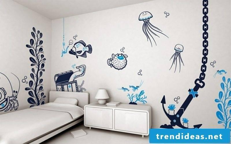 Underwater world wall painting children's room