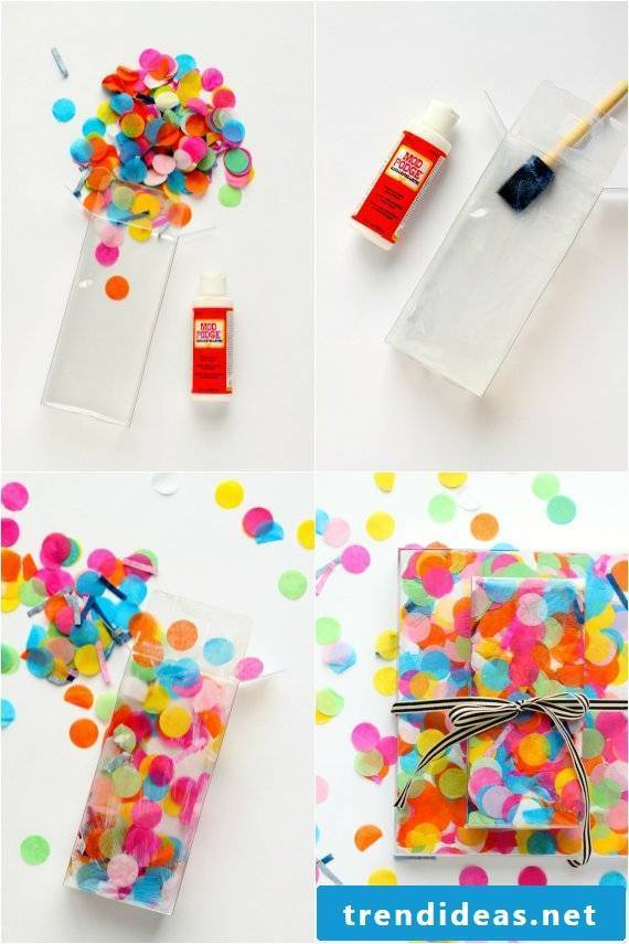 No tape, no wrapping paper: Creative packaging with confetti
