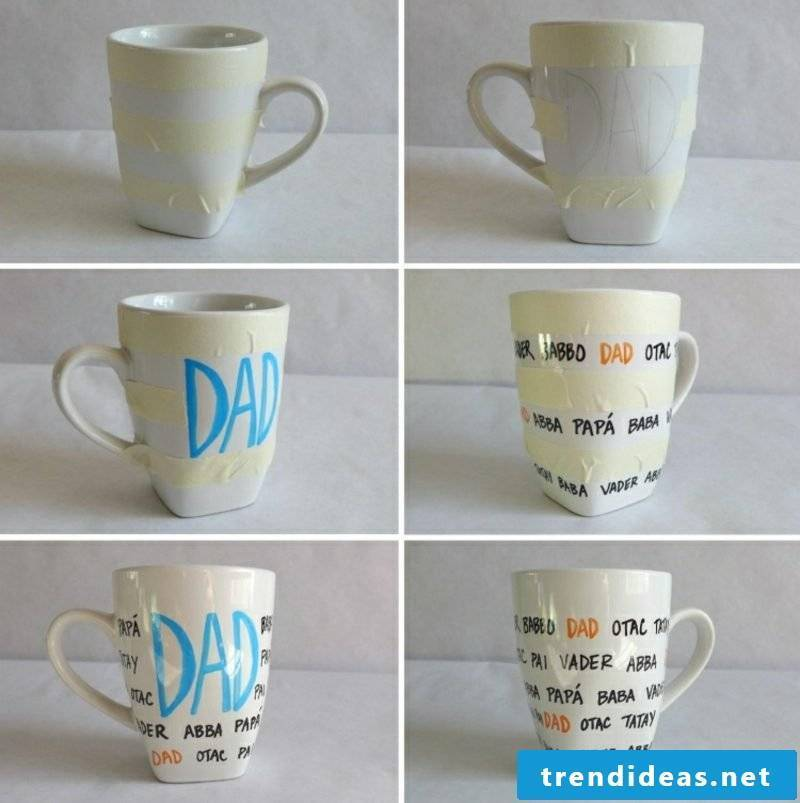Self-printing cups DIY ideas