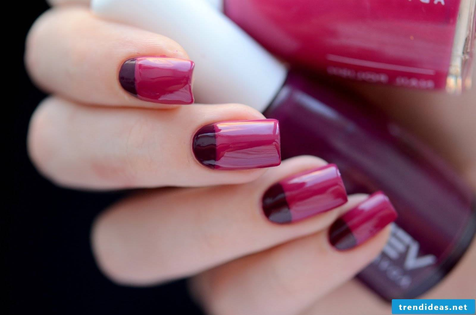 Nice color combination for raspberry nails