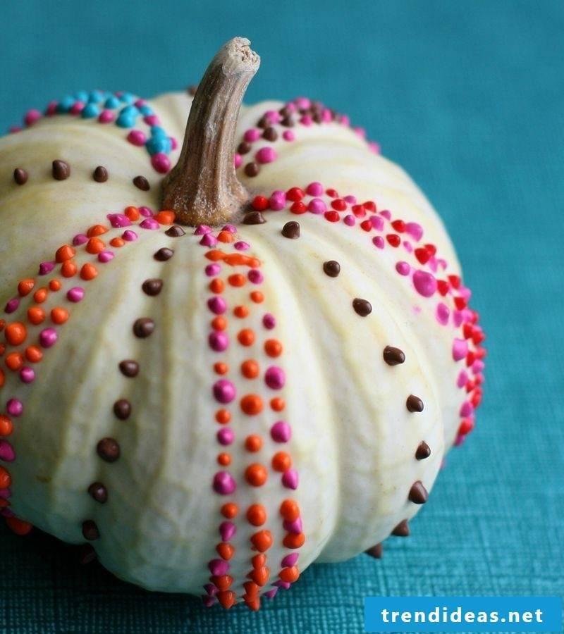 Paint pumpkin painted dotted pumpkin