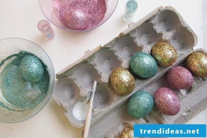 Easter eggs glitter with children