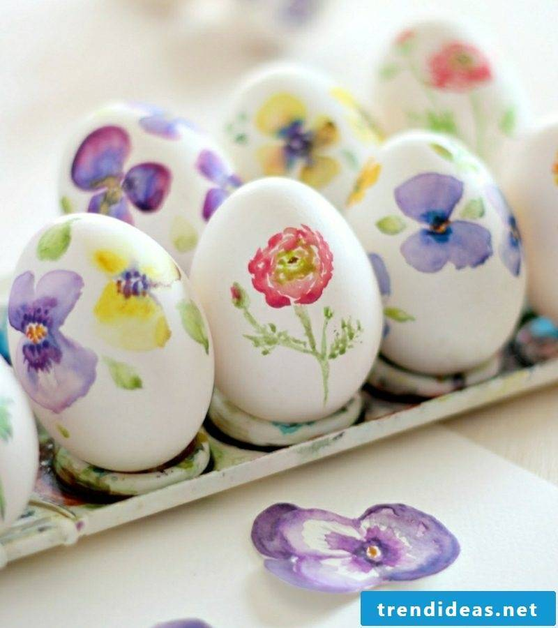 Easter eggs painted with kids great designs watercolor