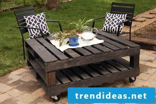Table made of pallets craft ideas Build garden furniture from pallets yourself