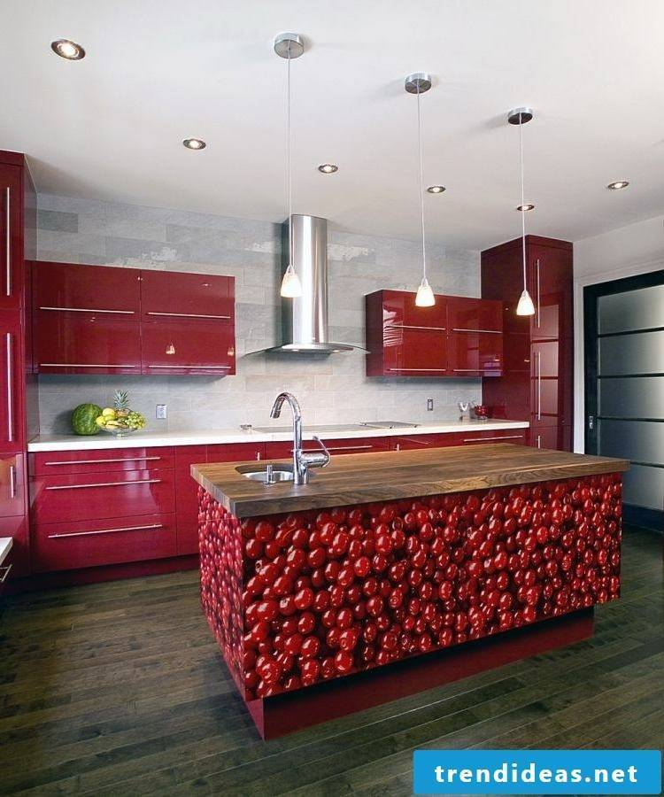 kitchen fronts dark red